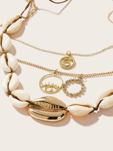 3 Layered Golden Circle & Shell Pendant 2pcs Necklace