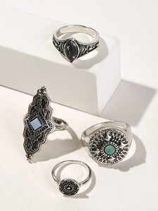 Grey Engraved Gemstone 4pcs Silver Ring