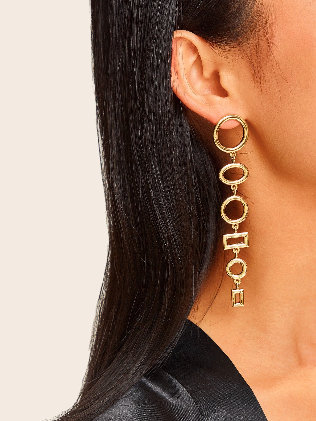 Golden Hoop & Rectangle Layered Dangle Earrings 1 Pair