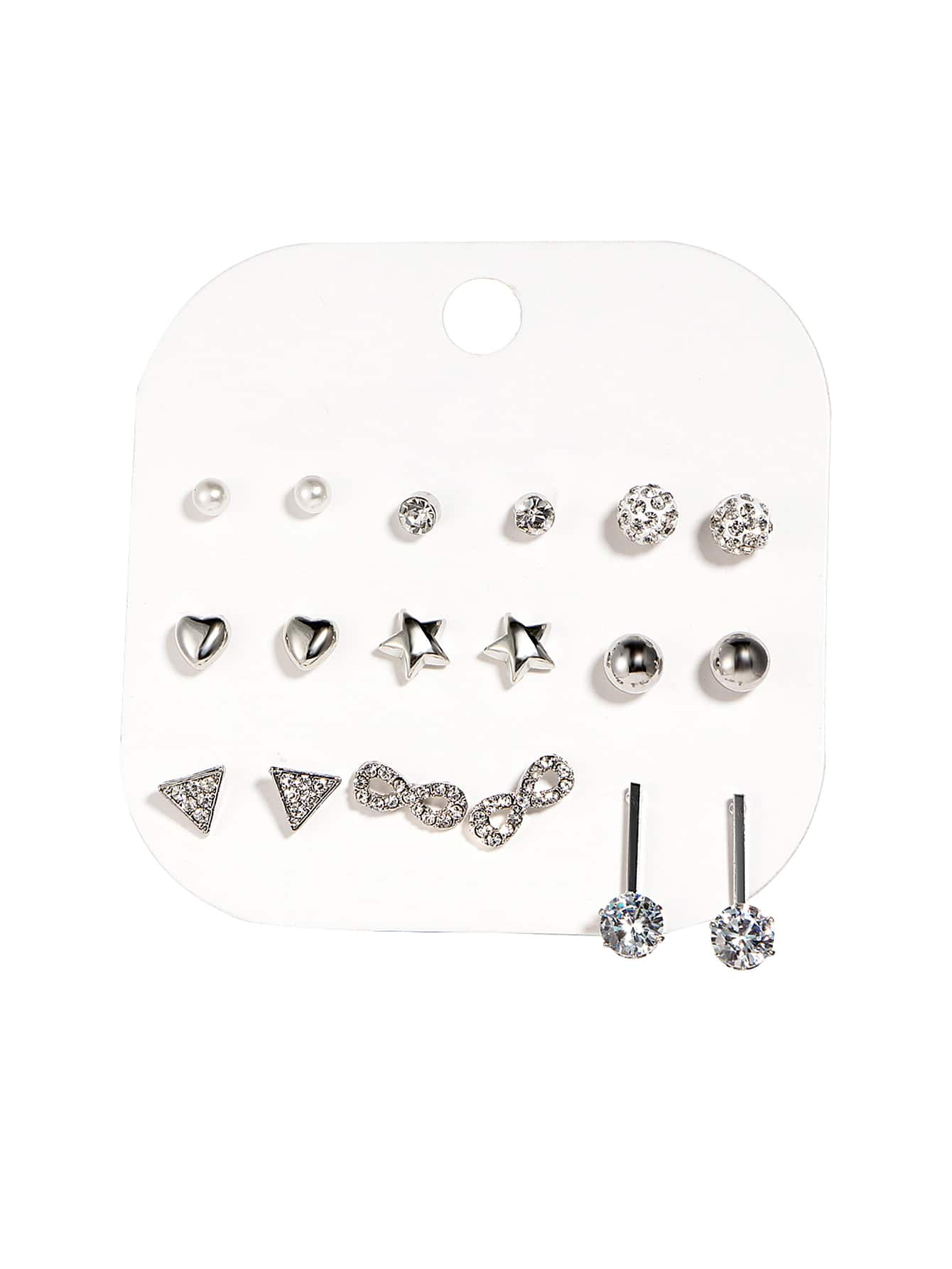 9 Pairs Grey Star & Ball Design Stud Earring Set