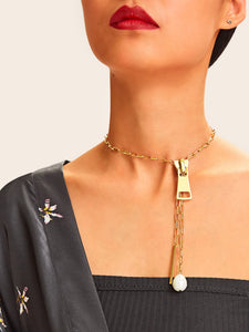 Golden Zipper Chain With Faux Pearl & Bar Pendant Lariats Necklace 1pc
