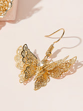Load image into Gallery viewer, Golden 1pair Hollow Out Butterfly Metal Drop Dangle Earrings