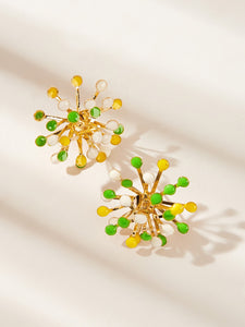 Multicolor Flower Design 1pair Gold Stud Earrings