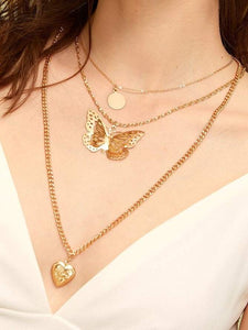 Golden 1pc Heart & Butterfly Layered Chain Alloy Pendant Necklace