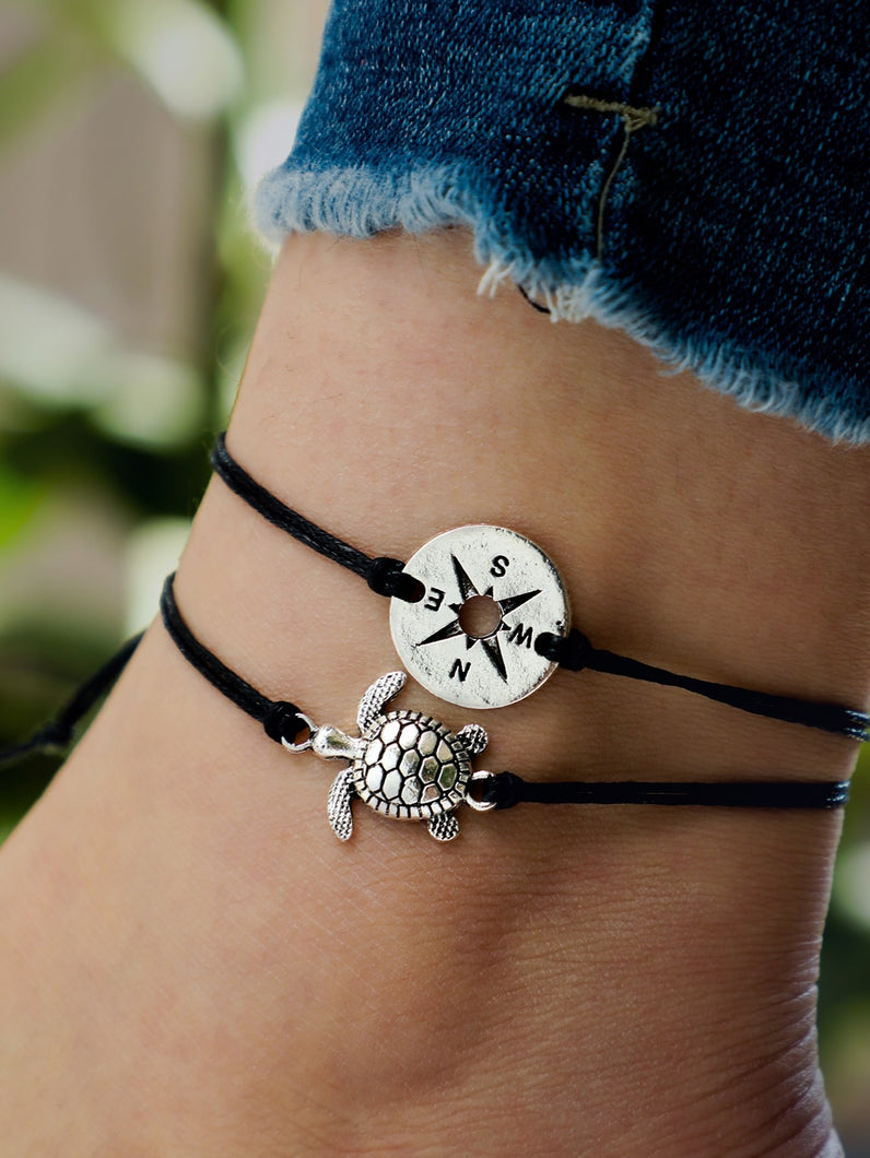 Black & White 2pcs Tortoise Decor Anklet Set
