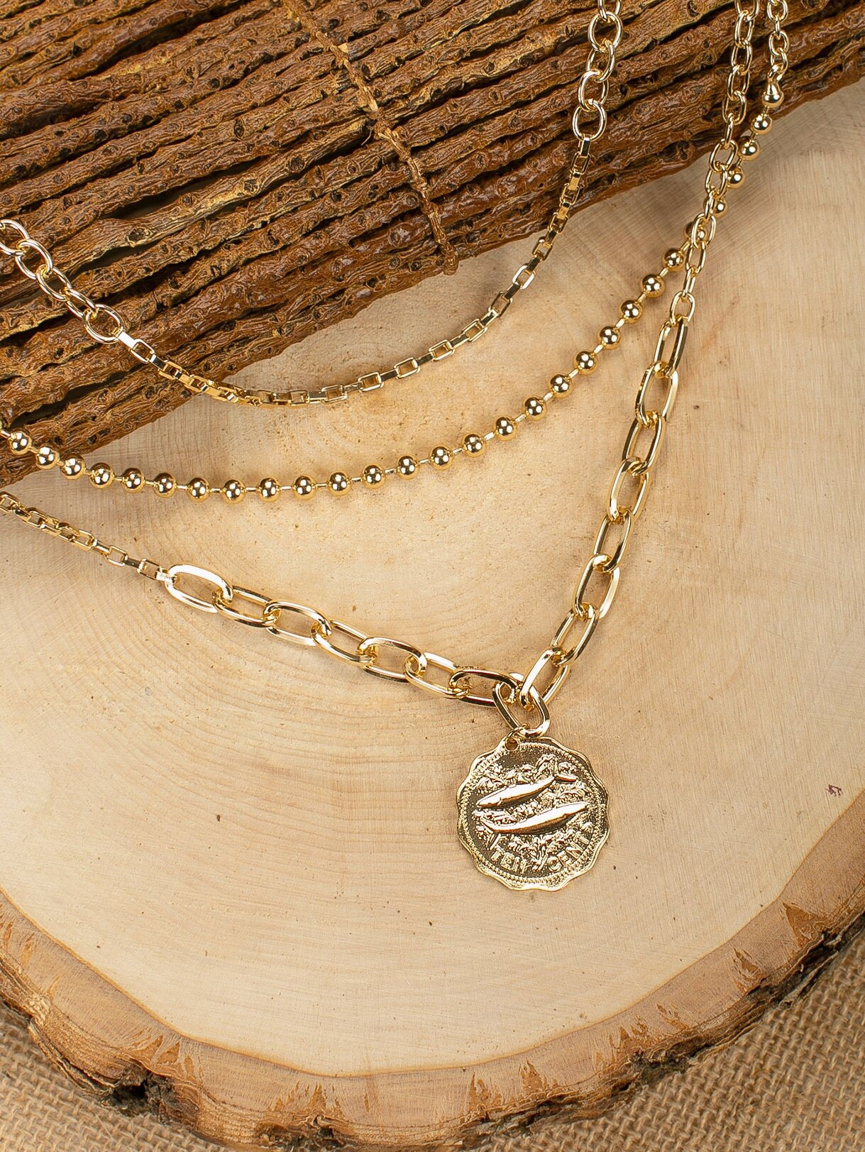 Triple Layered Golden Coin Pendant Chain Necklace