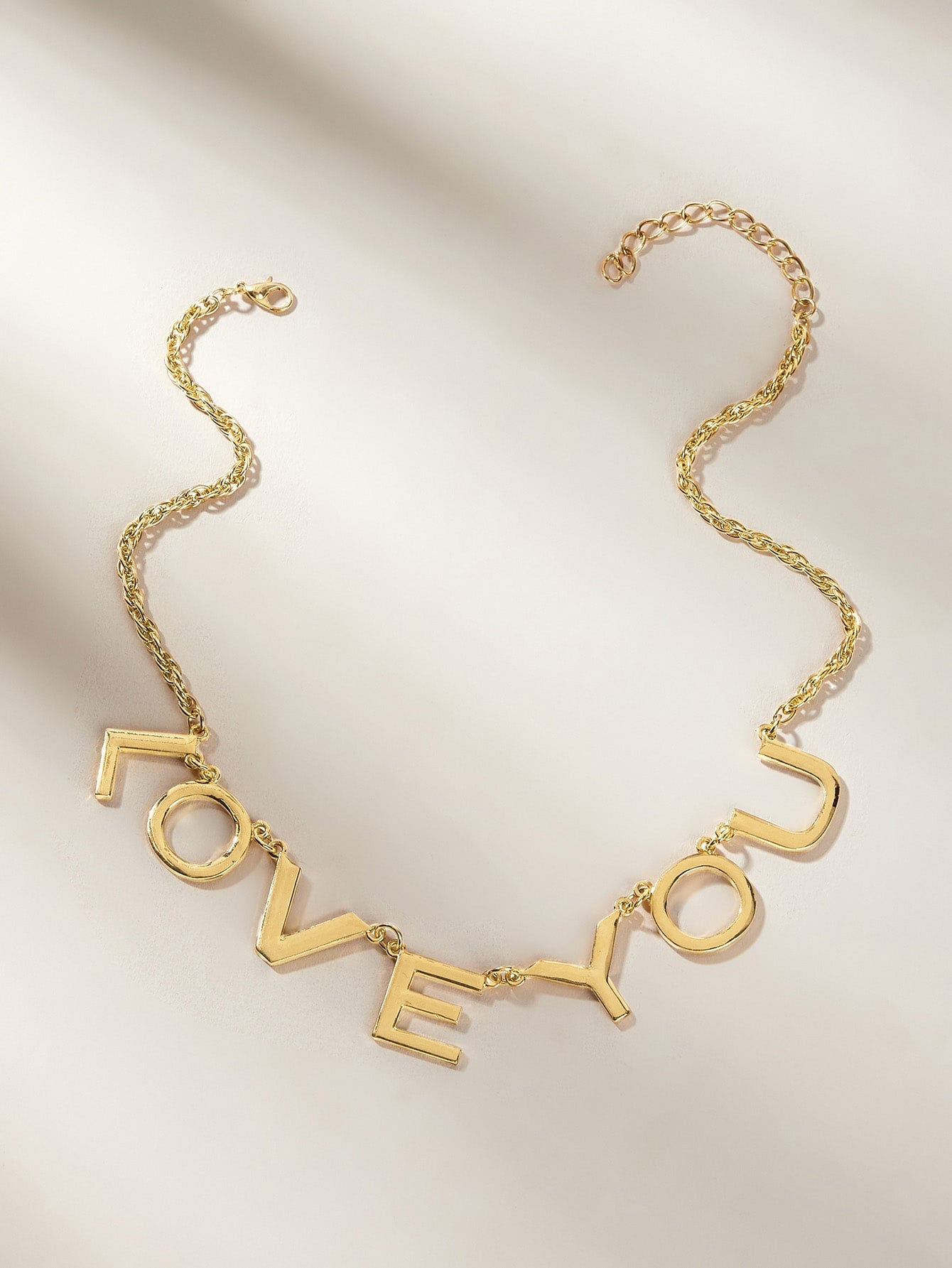 Golden 1pc Slogan Charm Metal Chain Pendant  Necklace