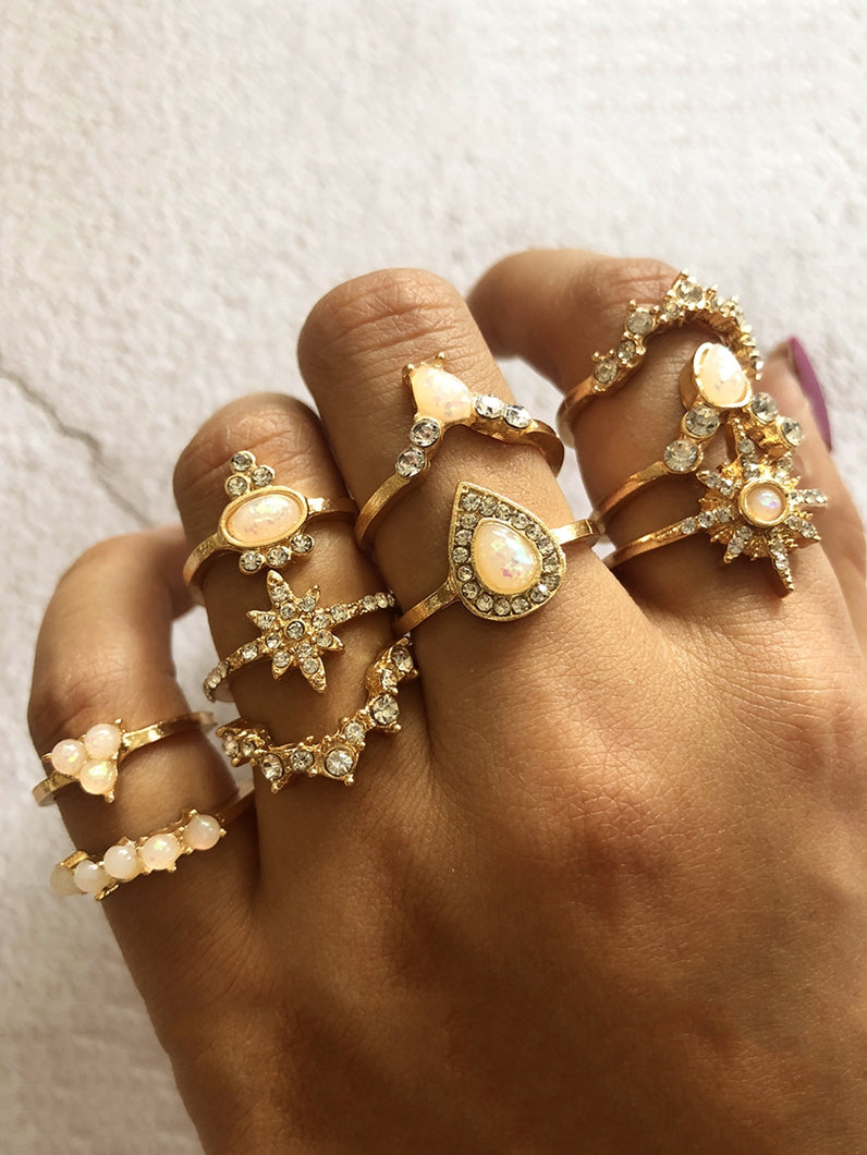 Golden Rhinestone Engraved 10pcs Ring Set