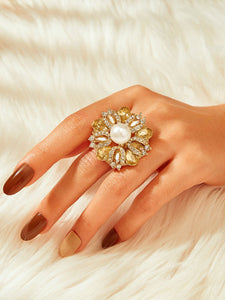 Golden 1pc Rhinestone Metal Detail Ring