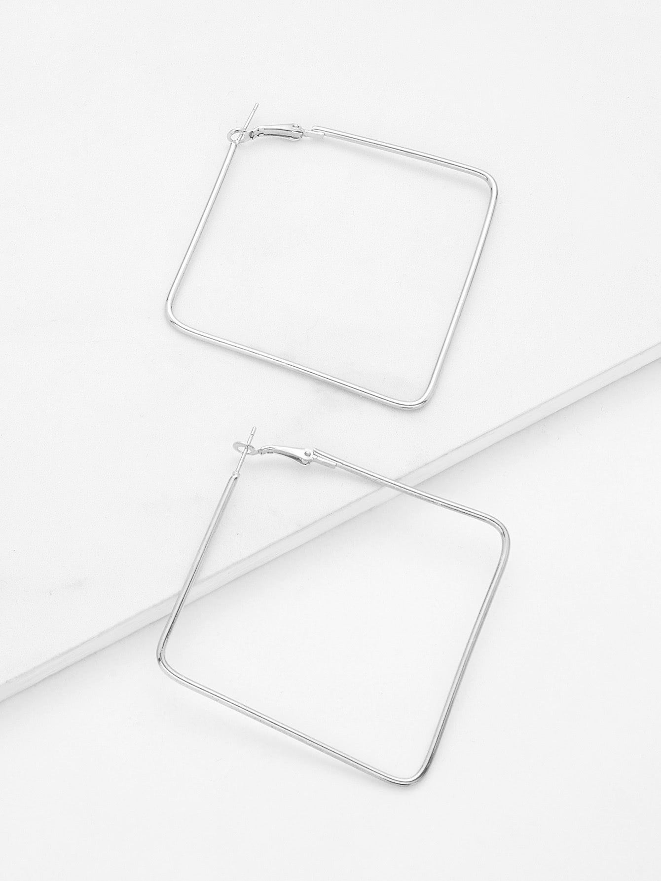 Silver Square Design Open 1 Pair Dangle Earrings