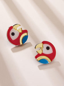 Multicolor 1pair Parrot Shaped Stud Earrings