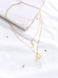 Multicolored Crystal And Moon Pendant With Gold Double Chain Necklace