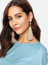 Load image into Gallery viewer, Grey Faux Pearl 1pair Gold Tassel Drop Dangle Earrings