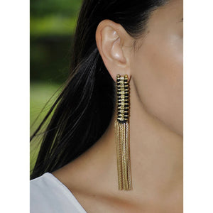 Golden Temple Cotton Thread Tassel Earrings