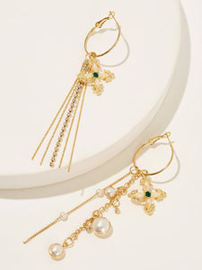 Golden Tassel Drop Flower & Pearl Detail Metal 1 Pair Dangle Earrings