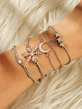Load image into Gallery viewer, 5pcs Silver Snowflake & Moon Crystal Bracelet Set