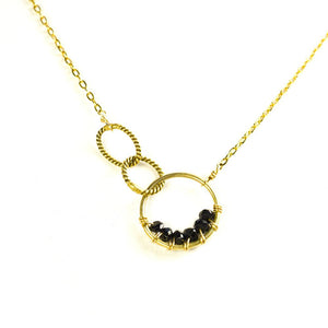 Spinel Stone With Twisted Links Rings Gold Delicate Necklace