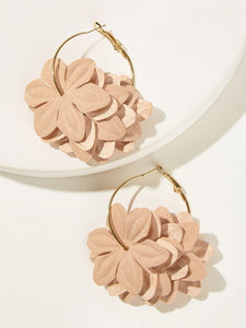 Pink Fabric Flower With Golden Hoop 1 Pair Earrings