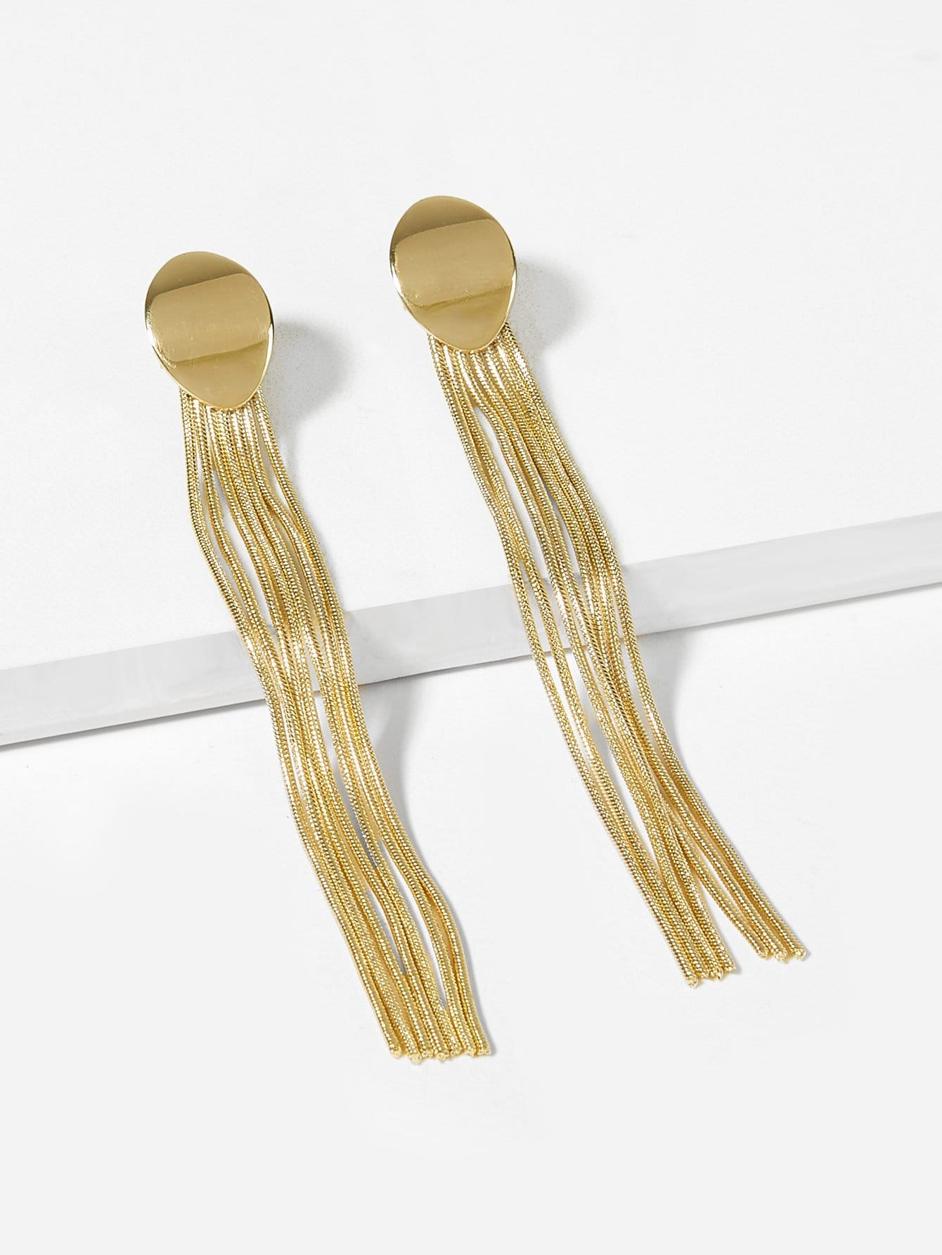 Golden 1pair Long Metal Tassel Drop Dangle Earrings