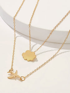 Golden Double Layered Airplane & Cloud Pendant Necklace 1pc