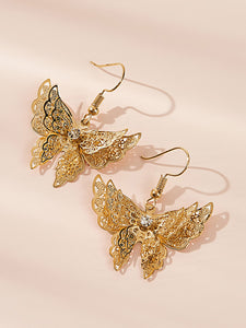 Golden 1pair Hollow Out Butterfly Metal Drop Dangle Earrings