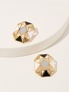 Multicolor 1pair Geometric Hollow Gold Stud Earrings