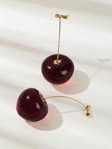 1pair Red Cherry Shaped Gold Metal Drop Dangle Earrings