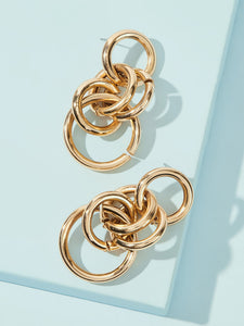 Golden Ring Drop 1pair Hoop Earrings