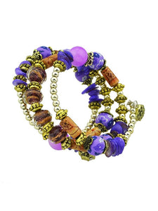 Purple Handmade Beaded Winding Bracelet