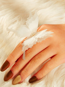 1pc White Butterfly Gold Boho Ring