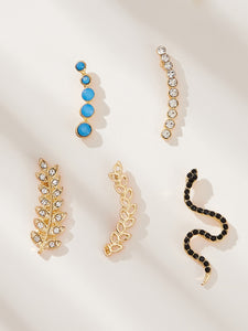 Multicolor 5pcs Snake & Leaf Shaped Gemstone Ear Stud Climber