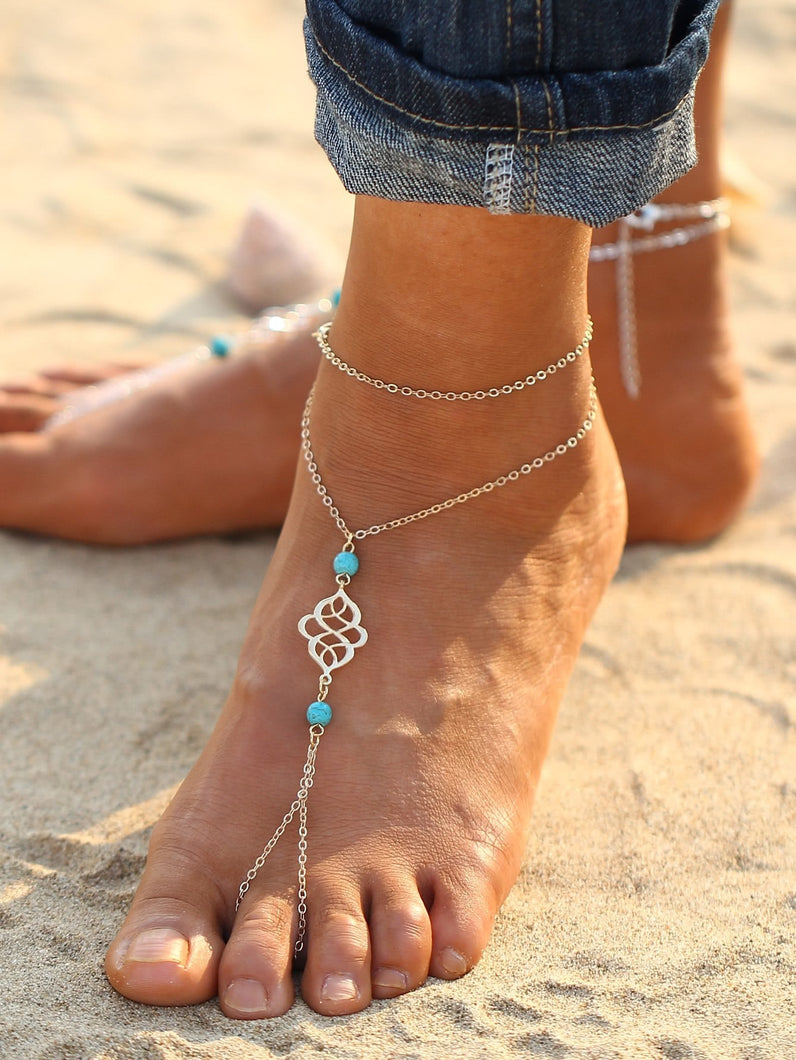 Golden Chain Anklet With Toe Ring With Turquoise Detail