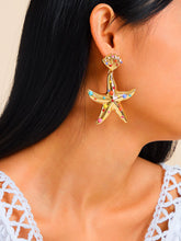 Load image into Gallery viewer, Golden 1pair Stone Decor Metal Starfish Shaped Earrings