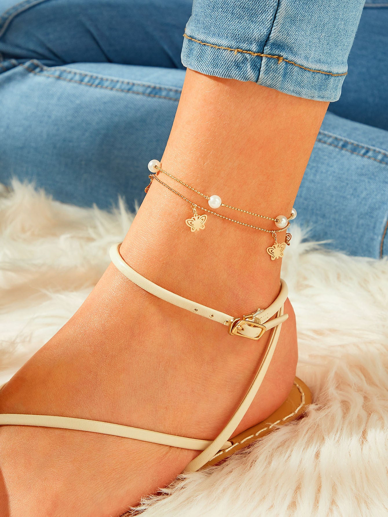 Golden Beaded Chain With Faux Pearl & Butterfly Decor Anklet 1pc