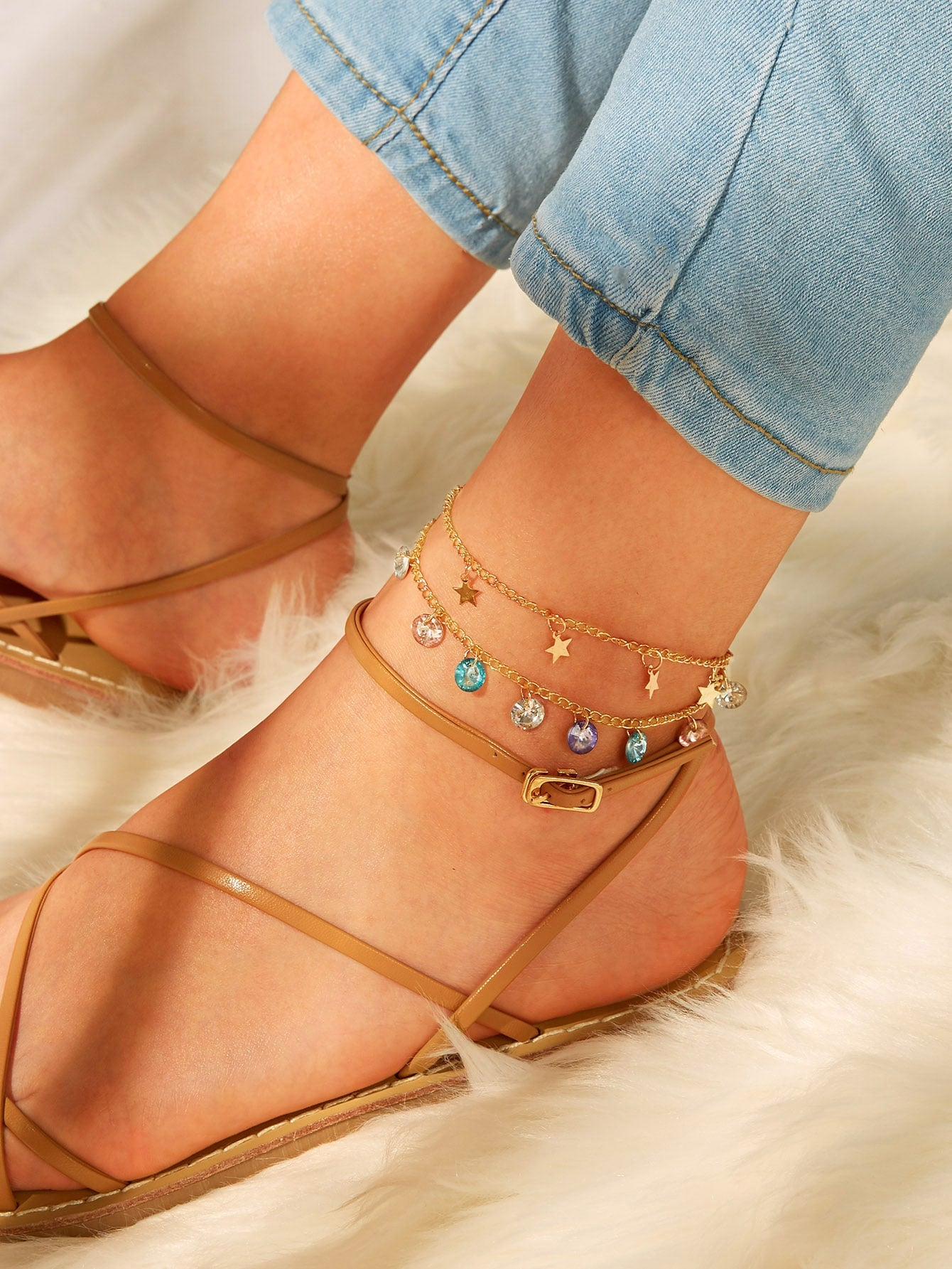Multicolored Gemstone With Star Charm 1pc Golden Chain Anklet