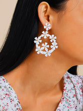 Load image into Gallery viewer, White Flower Design Golden 1 Pair Drop Dangle Earrings