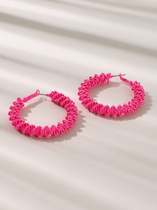 Green And Pink Triangle Decor Open 1 Pair Hoop Earrings