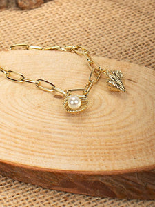 Golden Seashell Beach Theme Pearls Charm Bracelet