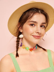 Multicolor 1pc Flower Embroidery Cotton Choker