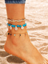 Load image into Gallery viewer, 3pcs Multicolored Shell & Water Drop Charm Golden Chain Anklet