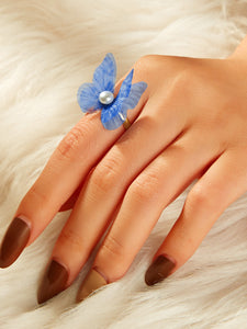 Blue Faux Pearl Decor 1pc Gold Mesh Butterfly Shaped Ring