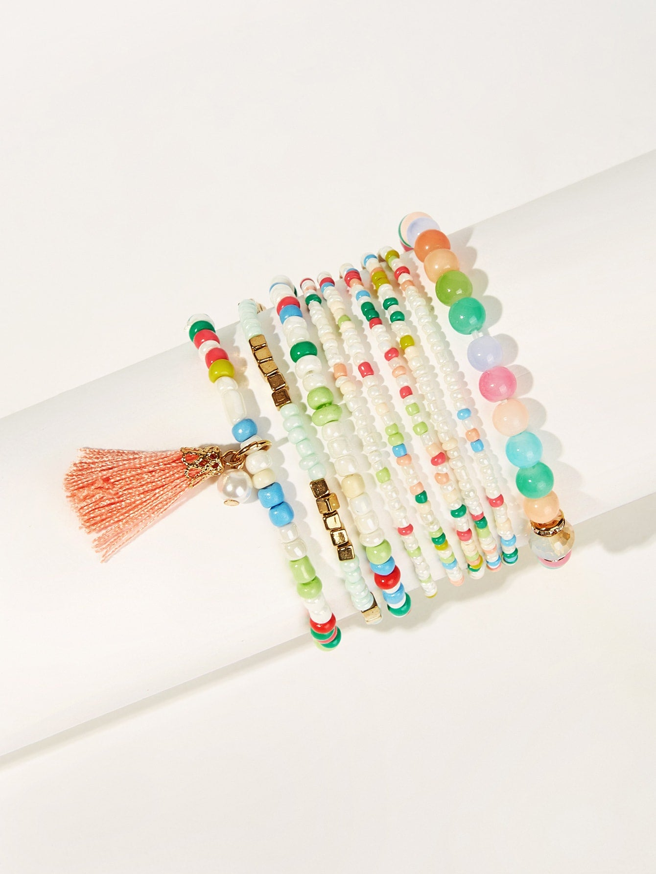 Multicolor 9pcs Tassel Charm Metal  Beaded Bracelet
