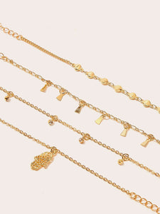 4pcs Gold Hand Charm Chain Alloy Anklet