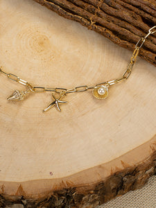 Golden Seashell Beach Theme Charm Pearls Chain Necklace