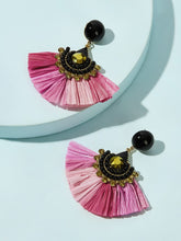 Load image into Gallery viewer, Multicolored Fan Tassel With Gemstone 1 Pair Dangle Earrings