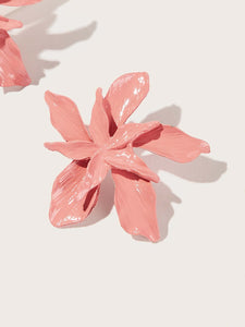 Pink Flower Shaped 1pair Alloy Stud Earrings