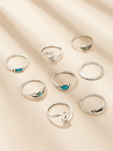 Rainbow Striped Gemstone Engraved Silver Ring 8pcs