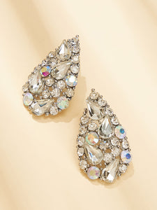 1 Pair Grey Rhinestone Water-drop Shaped Stud Earrings