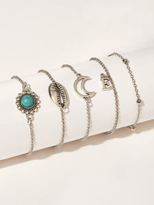 Grey Conch & Moon With Silver Chain 5 Pack Bracelets