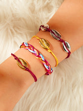 Load image into Gallery viewer, Cowrie Multicolored Shell Decor 4pcs Polyester Bracelet